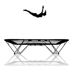 Wall Mural - silhouette of female gymnast on trampoline