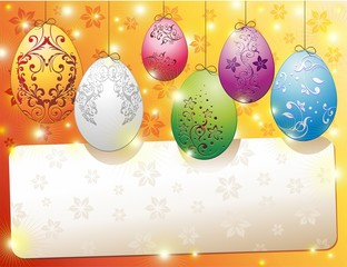 Pasqua Uova Banner Auguri-Easter Eggs Banner Card-Vector