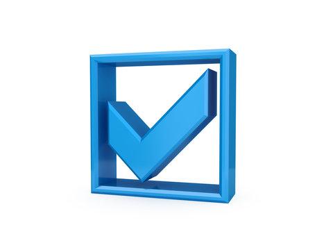 Blue checkmark icon.