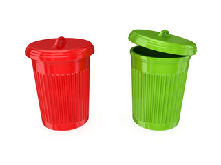 Colorful dustbins.