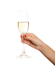 Wine glass in a hand of the woman,  isolated on white