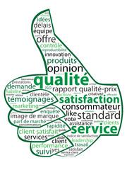 """Nuage de Tags """"SERVICE - QUALITE - SATISFACTION"""" (j'aime pouce)"""