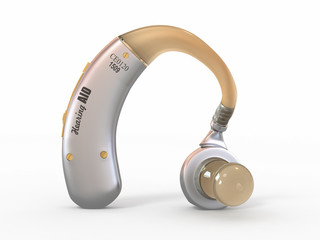 Hearing aid on white background. 3d