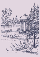 Vector landscape. Gazebo by the river