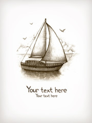 Old fasioned illustration of sailing boat