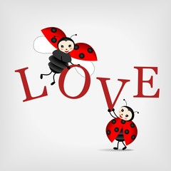 ladybugs with letters LOVE