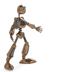 Spoed Foto op Canvas Robots funny robot want a hug side view