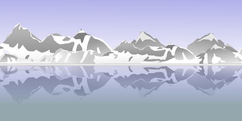 Berge Vektor - Spiegelung im Wasser