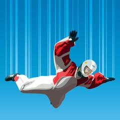 Skydiver falls through the air.
