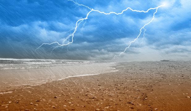 rain on the shoreline with lightning