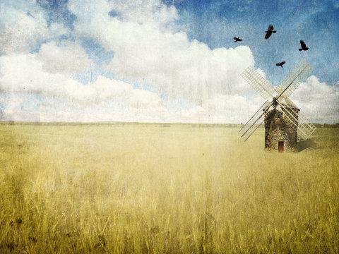 mill in the wheat field