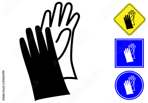 Wear Gloves Pictogram And Signs Stock Image And Royalty Free Vector