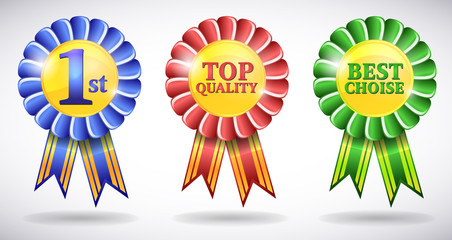 Blue, red, green awards vector medals