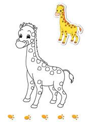 animali da colorare, giraffa