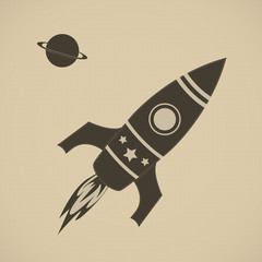Vintage rocket in space
