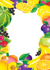 Beautiful fruits frame and place for your text.