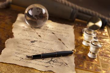Old message, vintage navigation optical instruments