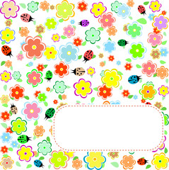 Seamless texture with flowers and ladybirds. floral pattern