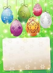 Pasqua Uova Cartolina Auguri-Easter Eggs Greeting Card-Vector