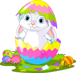 Easter. Bunny jumping out from  egg