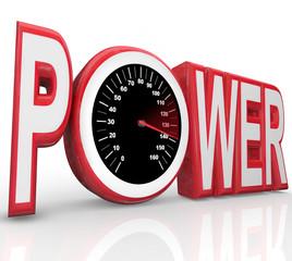 Power Word Speedometer Powerful Energy Speed Racing