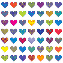 Set of colored stylized hearts