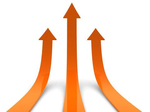 Three orange arrows going up