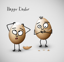 Funny cracked easter eggs - vector illustration