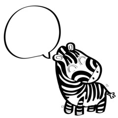 little cute zebra with speech bubble