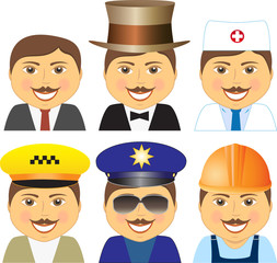 isolated smiling men with mustache different professions