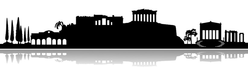 Skyline Athen Akropolis Vektor Fototapete