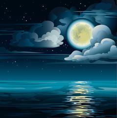 Yellow moon and sea