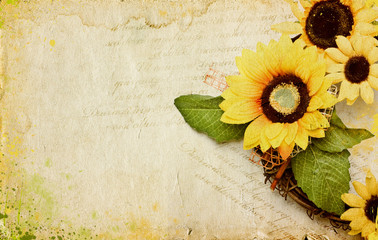Grunge retro background with sunflowers and copy space