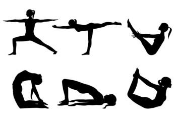 Yoga Series 3 Six Sihlouettes Poses On White