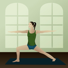 Young woman practicing yoga Warrior 2 Pose