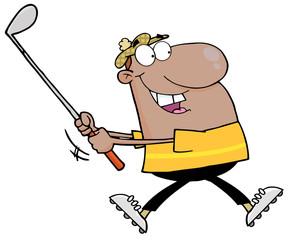 African American Golfer Running
