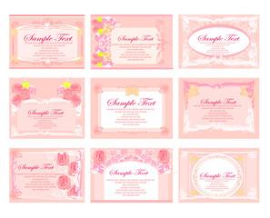 pink business floral card set