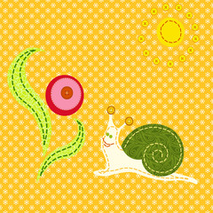 embroidered picture(EPS 8) snail flower orange background