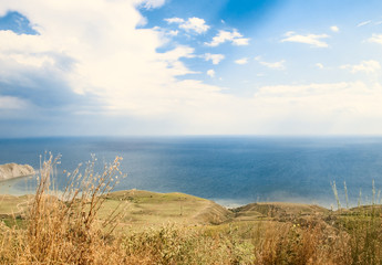 Ukrainian tranquil landscape with mountains and sea.