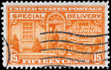 USA - CIRCA 1931 Postman and Motorcycle