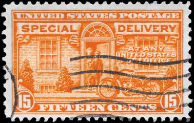USA - CIRCA 1931 Postman and Motorcycle
