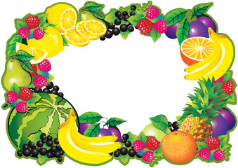 Fruits frame. Place for your text. Healthy food.