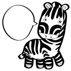 little cute zebra with speech bubble