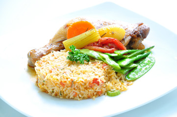 Fried rice with drumstick