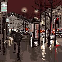 In de dag Art Studio Paris at night