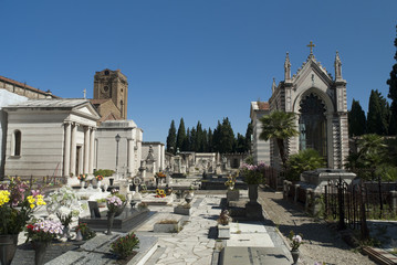 Tombs in spectacular Cemetery in Florence Italy