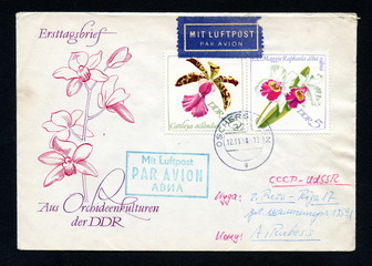 """Vintage german first day cover """"Orchids"""""""