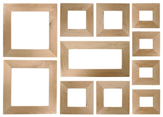 Blank wooden frames for photos