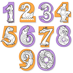 Set Of Black and White Cartoon Numbers