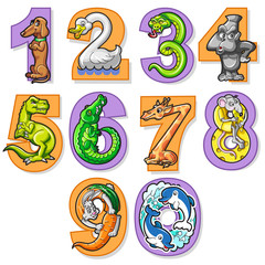 Set Of Colorful Cartoon Numbers